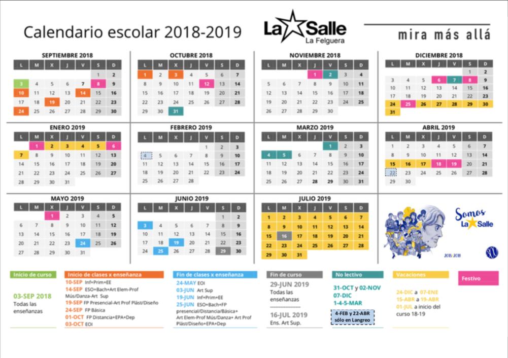 Calendario Escolar Europa 2019.Calendario Escolar La Salle La Felguera